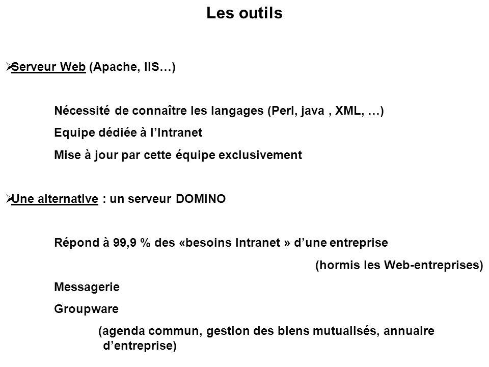 Les outils  Serveur Web (Apache, IIS…) Nécessité de connaître les langages (Perl, java, XML, …) Equipe dédiée à l'Intranet Mise à jour par cette équipe exclusivement  Une alternative : un serveur DOMINO Répond à 99,9 % des «besoins Intranet » d'une entreprise (hormis les Web-entreprises) Messagerie Groupware (agenda commun, gestion des biens mutualisés, annuaire d'entreprise)