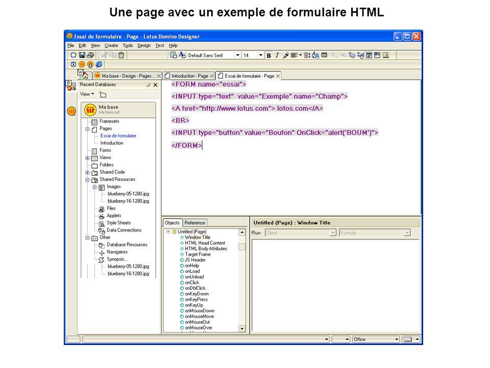 Une page avec un exemple de formulaire HTML