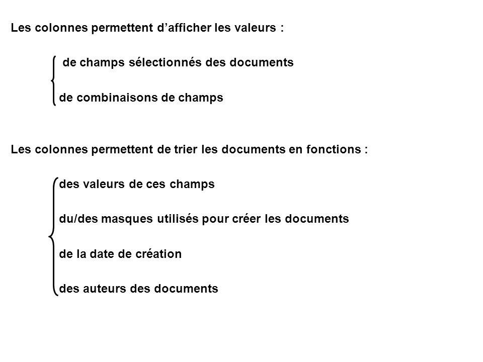 Les colonnes permettent d'afficher les valeurs : de champs sélectionnés des documents de combinaisons de champs Les colonnes permettent de trier les d