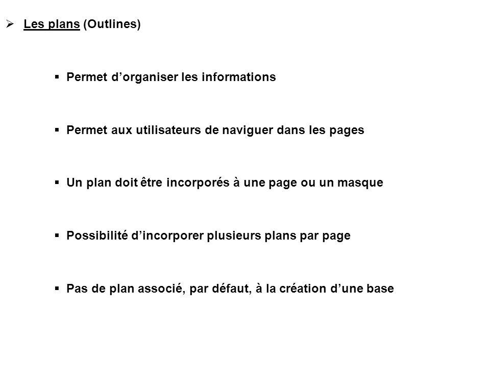  Les plans (Outlines)  Permet d'organiser les informations  Permet aux utilisateurs de naviguer dans les pages  Un plan doit être incorporés à une page ou un masque  Possibilité d'incorporer plusieurs plans par page  Pas de plan associé, par défaut, à la création d'une base
