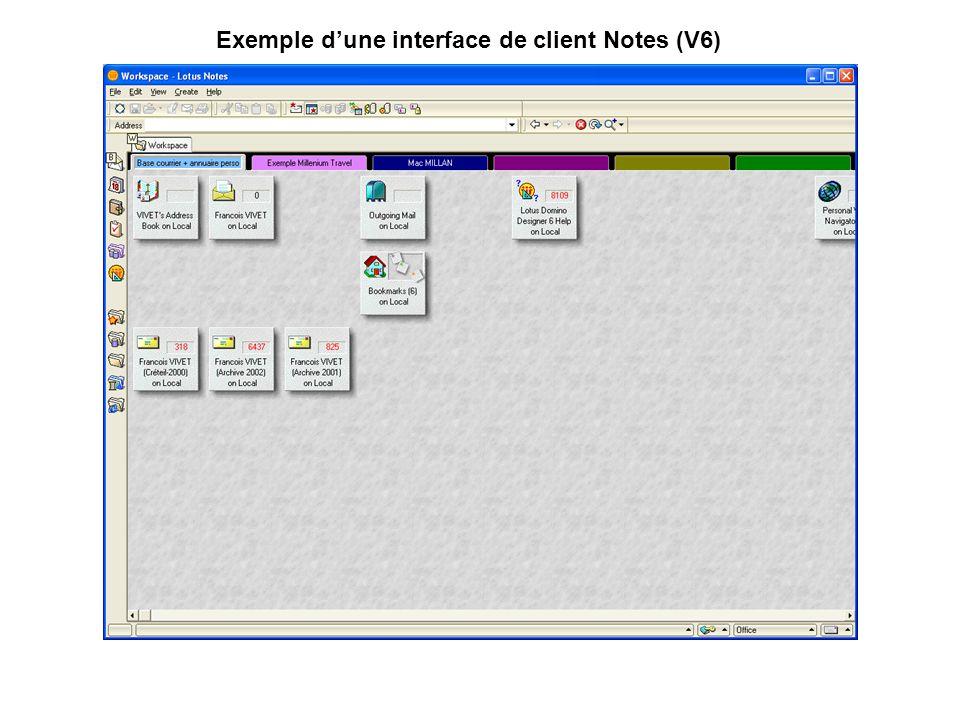Exemple d'une interface de client Notes (V6)