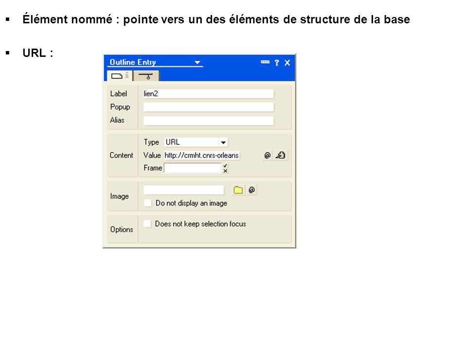  Élément nommé : pointe vers un des éléments de structure de la base  URL :