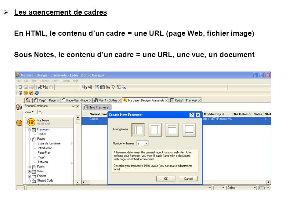  Les agencement de cadres En HTML, le contenu d'un cadre = une URL (page Web, fichier image) Sous Notes, le contenu d'un cadre = une URL, une vue, un