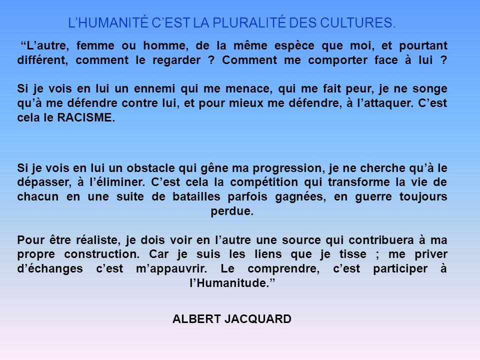 L'HUMANITÉ C'EST LA PLURALITÉ DES CULTURES.