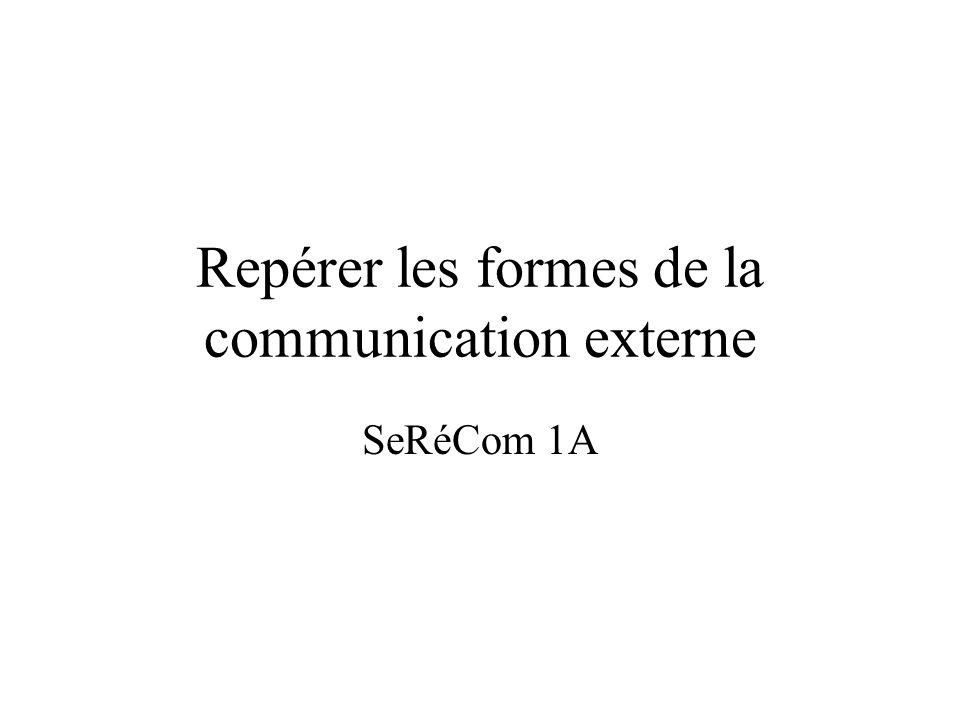 Repérer les formes de la communication externe SeRéCom 1A