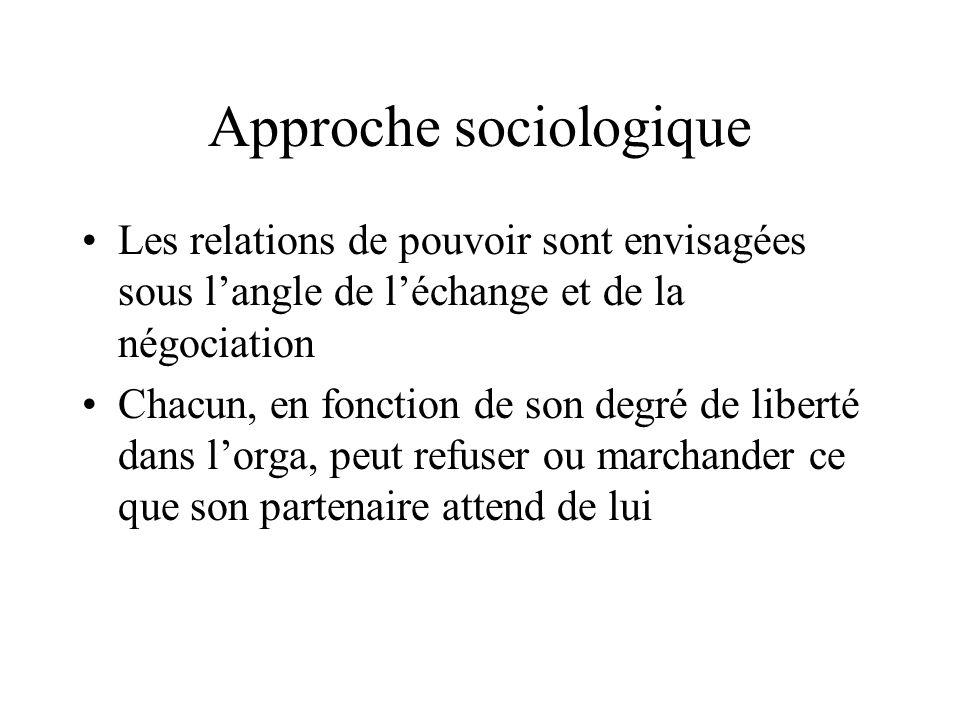 Approche sociologique Les relations de pouvoir sont envisagées sous l'angle de l'échange et de la négociation Chacun, en fonction de son degré de libe