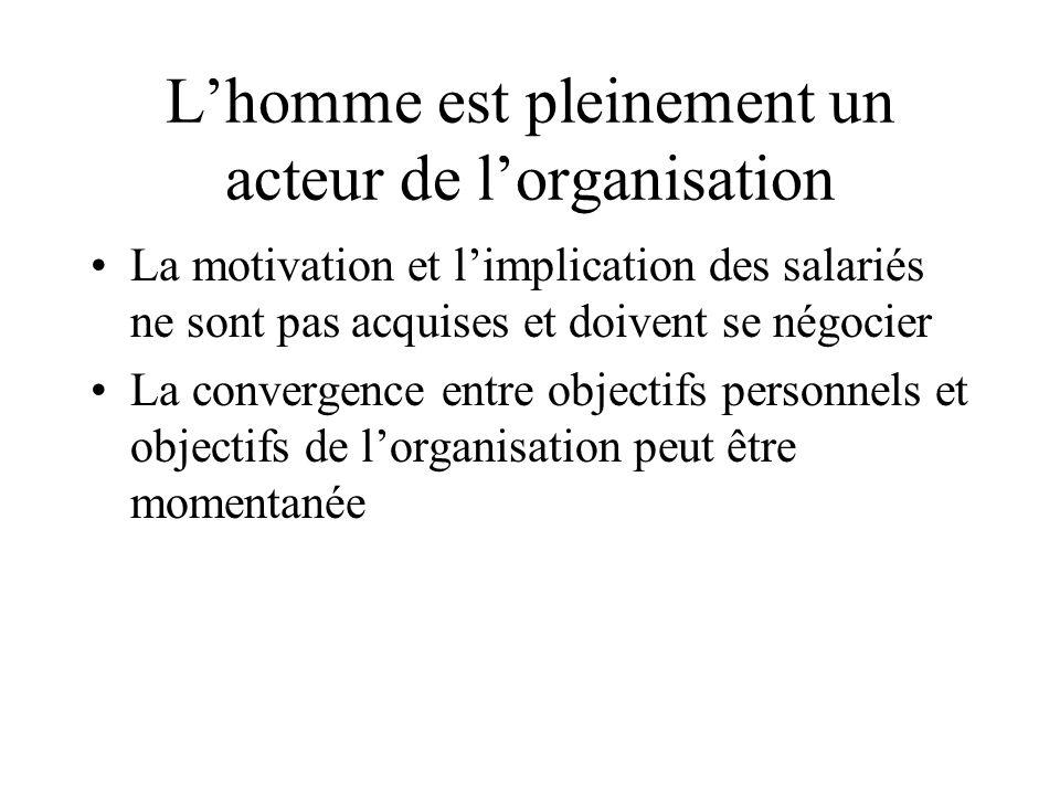 L'homme est pleinement un acteur de l'organisation La motivation et l'implication des salariés ne sont pas acquises et doivent se négocier La converge