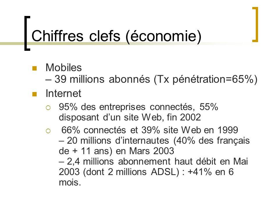 Mobiles – 39 millions abonnés (Tx pénétration=65%) Internet  95% des entreprises connectés, 55% disposant d'un site Web, fin 2002  66% connectés et 39% site Web en 1999 – 20 millions d'internautes (40% des français de + 11 ans) en Mars 2003 – 2,4 millions abonnement haut débit en Mai 2003 (dont 2 millions ADSL) : +41% en 6 mois.