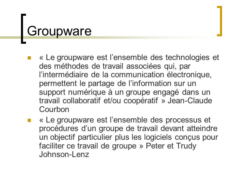 Groupware « Le groupware est l'ensemble des technologies et des méthodes de travail associées qui, par l'intermédiaire de la communication électronique, permettent le partage de l'information sur un support numérique à un groupe engagé dans un travail collaboratif et/ou coopératif » Jean-Claude Courbon « Le groupware est l'ensemble des processus et procédures d'un groupe de travail devant atteindre un objectif particulier plus les logiciels conçus pour faciliter ce travail de groupe » Peter et Trudy Johnson-Lenz