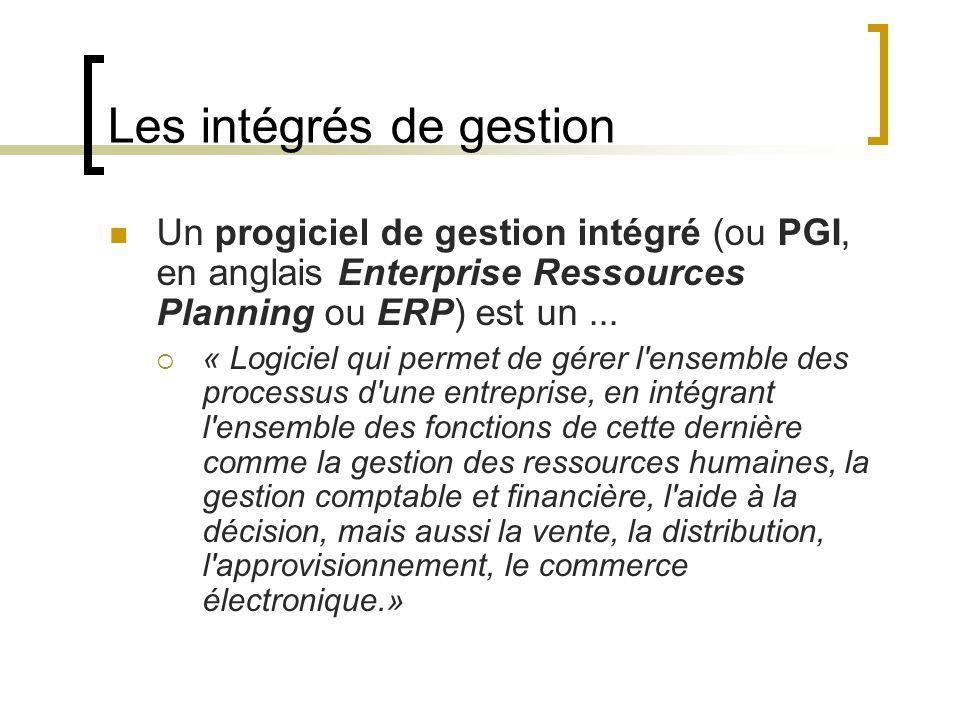 Les intégrés de gestion Un progiciel de gestion intégré (ou PGI, en anglais Enterprise Ressources Planning ou ERP) est un...