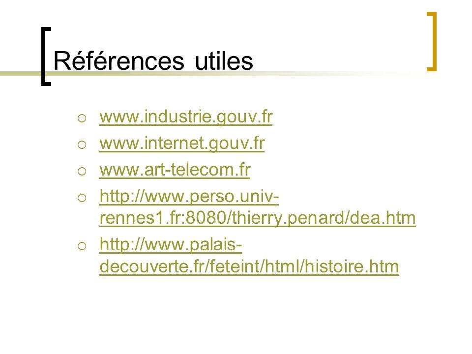 Références utiles  www.industrie.gouv.fr www.industrie.gouv.fr  www.internet.gouv.fr www.internet.gouv.fr  www.art-telecom.fr www.art-telecom.fr  http://www.perso.univ- rennes1.fr:8080/thierry.penard/dea.htm http://www.perso.univ- rennes1.fr:8080/thierry.penard/dea.htm  http://www.palais- decouverte.fr/feteint/html/histoire.htm http://www.palais- decouverte.fr/feteint/html/histoire.htm