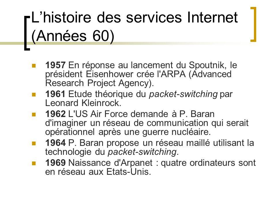 L'histoire des services Internet (Années 60) 1957 En réponse au lancement du Spoutnik, le président Eisenhower crée l ARPA (Advanced Research Project Agency).