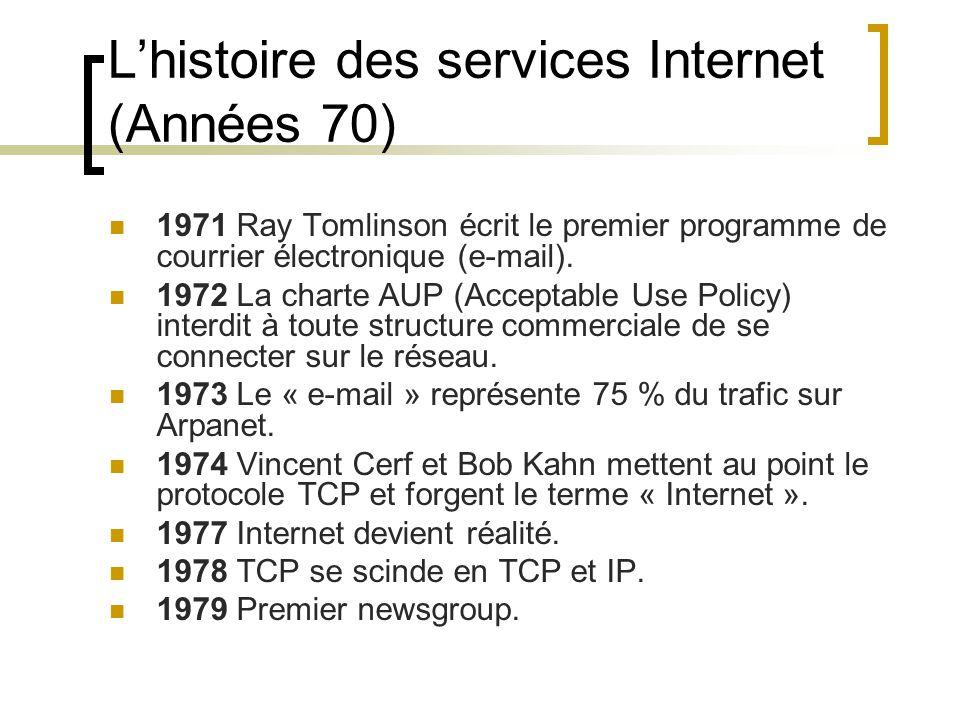 L'histoire des services Internet (Années 70) 1971 Ray Tomlinson écrit le premier programme de courrier électronique (e-mail).