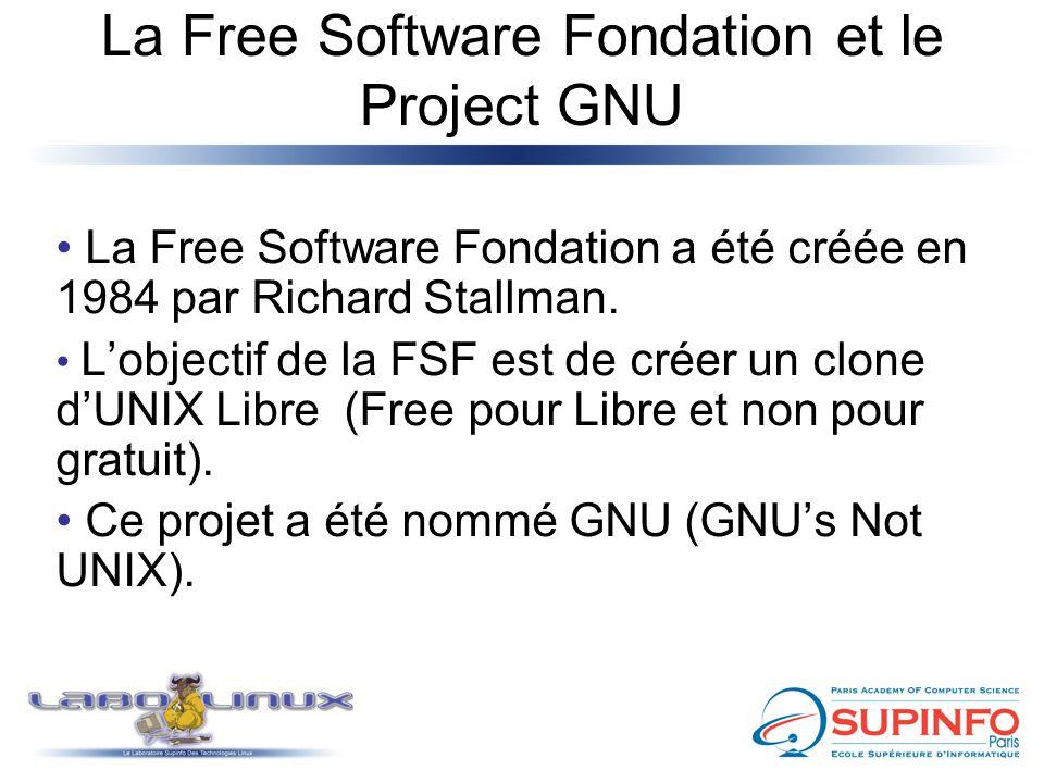 La Free Software Fondation et le Project GNU La Free Software Fondation a été créée en 1984 par Richard Stallman. L'objectif de la FSF est de créer un