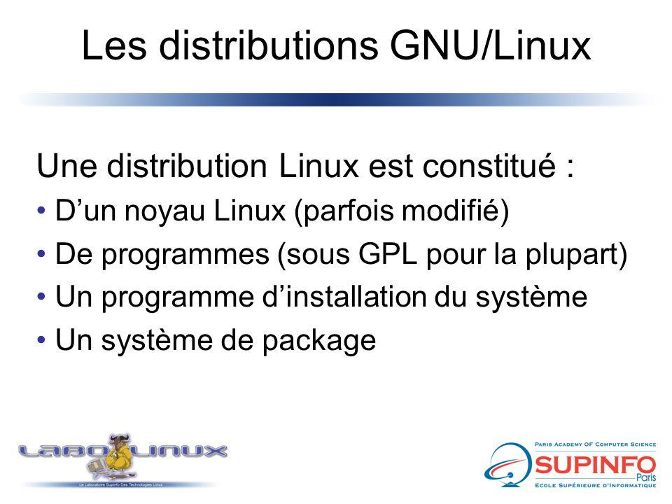 Les distributions GNU/Linux Une distribution Linux est constitué : D'un noyau Linux (parfois modifié) De programmes (sous GPL pour la plupart) Un prog