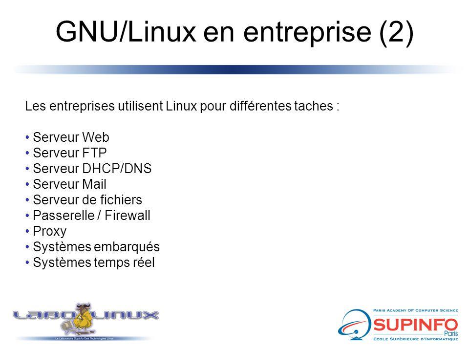 GNU/Linux en entreprise (2) Les entreprises utilisent Linux pour différentes taches : Serveur Web Serveur FTP Serveur DHCP/DNS Serveur Mail Serveur de