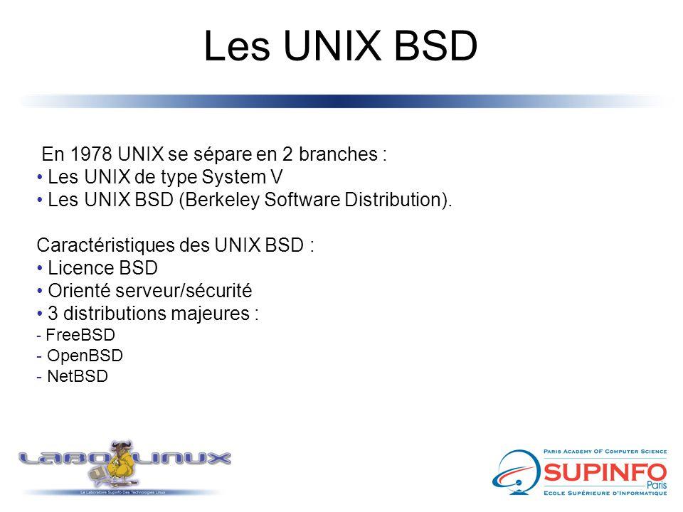 Les UNIX BSD En 1978 UNIX se sépare en 2 branches : Les UNIX de type System V Les UNIX BSD (Berkeley Software Distribution). Caractéristiques des UNIX