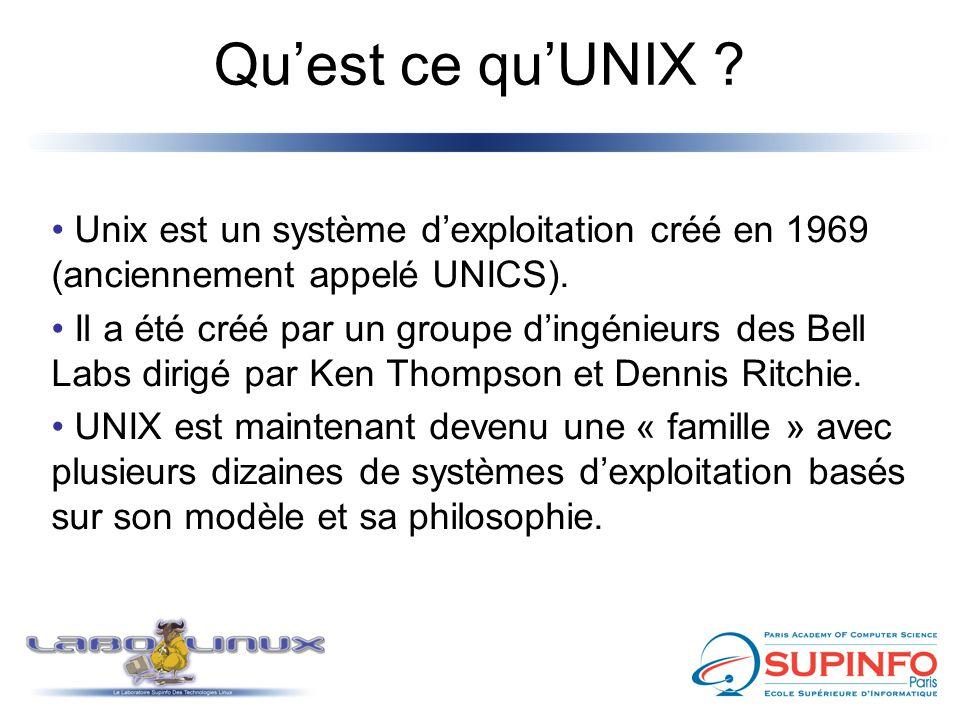 Qu'est ce qu'UNIX ? Unix est un système d'exploitation créé en 1969 (anciennement appelé UNICS). Il a été créé par un groupe d'ingénieurs des Bell Lab