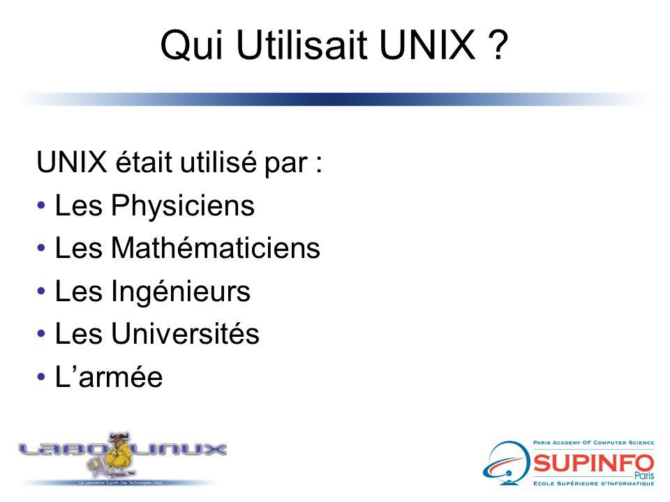 Qui Utilisait UNIX ? UNIX était utilisé par : Les Physiciens Les Mathématiciens Les Ingénieurs Les Universités L'armée