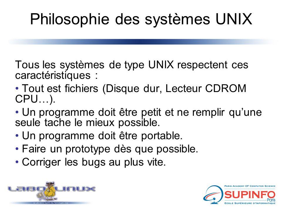 Philosophie des systèmes UNIX Tous les systèmes de type UNIX respectent ces caractéristiques : Tout est fichiers (Disque dur, Lecteur CDROM CPU…). Un