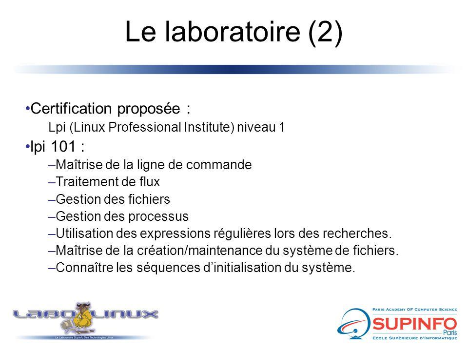 Le laboratoire (2) Certification proposée : Lpi (Linux Professional Institute) niveau 1 lpi 101 : –Maîtrise de la ligne de commande –Traitement de flu