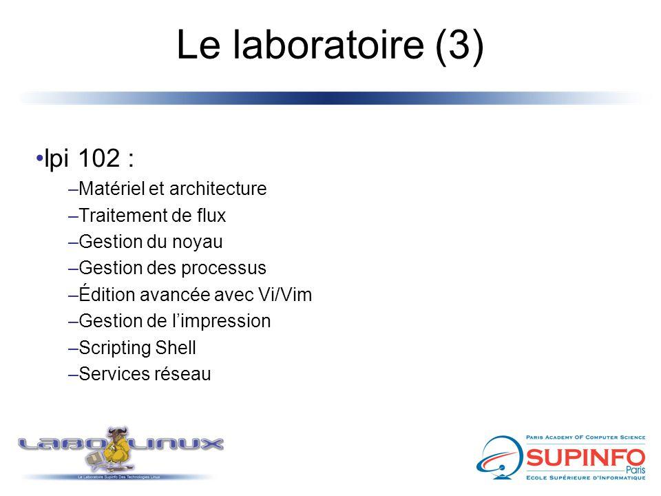 Le laboratoire (3) lpi 102 : –Matériel et architecture –Traitement de flux –Gestion du noyau –Gestion des processus –Édition avancée avec Vi/Vim –Gest