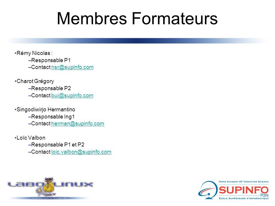 Membres Formateurs Rémy Nicolas : –Responsable P1 –Contact nsr@supinfo.comnsr@supinfo.com Charot Grégory –Responsable P2 –Contact bui@supinfo.combui@supinfo.com Singodiwirjo Hermantino –Responsable Ing1 –Contact herman@supinfo.comherman@supinfo.com Loïc Valbon –Responsable P1 et P2 –Contact loic.valbon@supinfo.comloic.valbon@supinfo.com