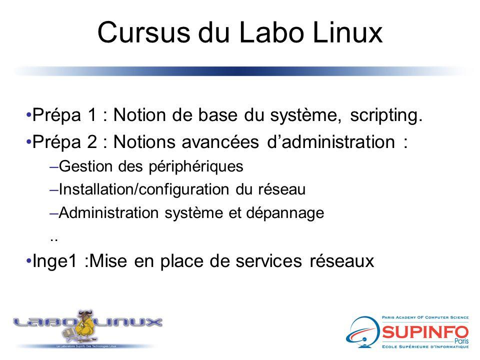 Cursus du Labo Linux Prépa 1 : Notion de base du système, scripting. Prépa 2 : Notions avancées d'administration : –Gestion des périphériques –Install