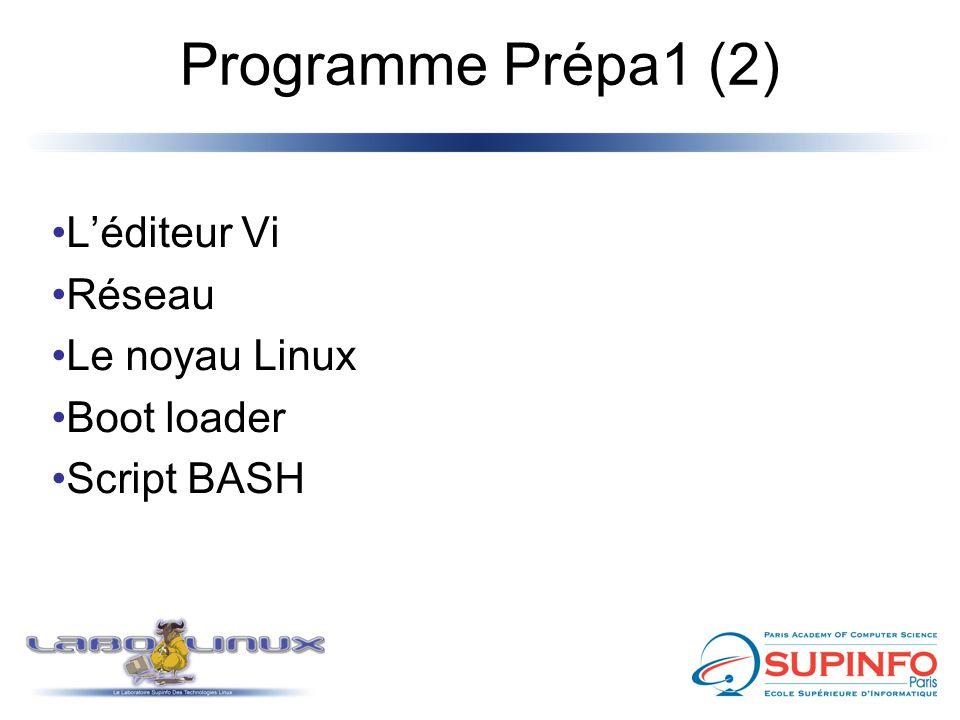 Programme Prépa1 (2) L'éditeur Vi Réseau Le noyau Linux Boot loader Script BASH
