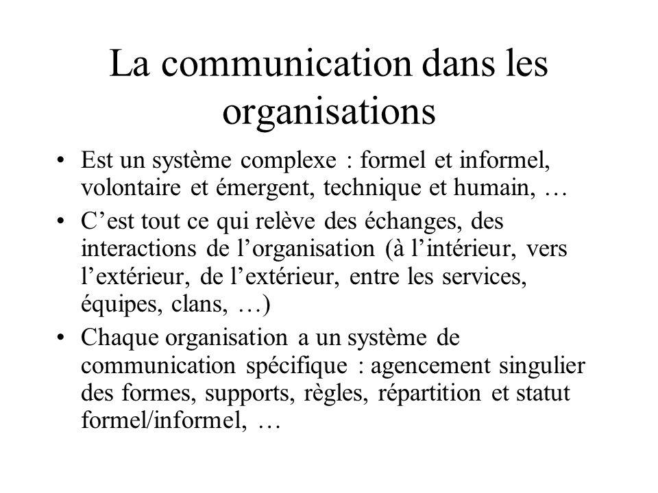 La communication dans les organisations Est un système complexe : formel et informel, volontaire et émergent, technique et humain, … C'est tout ce qui relève des échanges, des interactions de l'organisation (à l'intérieur, vers l'extérieur, de l'extérieur, entre les services, équipes, clans, …) Chaque organisation a un système de communication spécifique : agencement singulier des formes, supports, règles, répartition et statut formel/informel, …