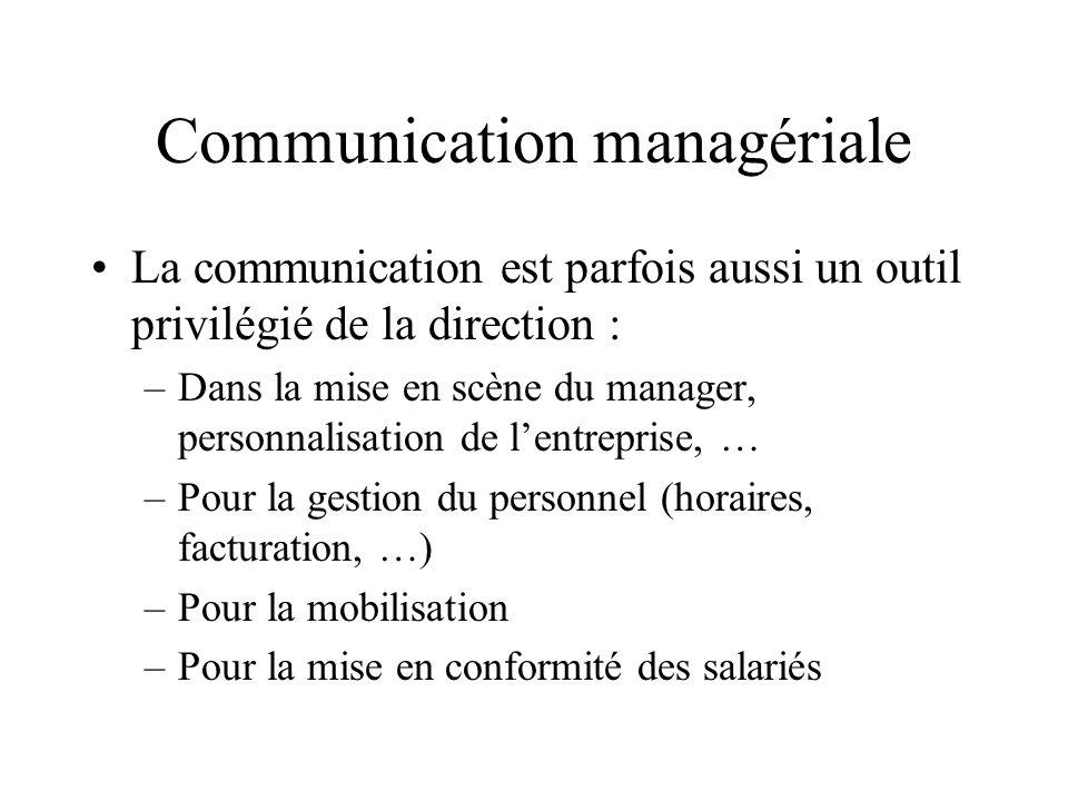Communication managériale La communication est parfois aussi un outil privilégié de la direction : –Dans la mise en scène du manager, personnalisation de l'entreprise, … –Pour la gestion du personnel (horaires, facturation, …) –Pour la mobilisation –Pour la mise en conformité des salariés