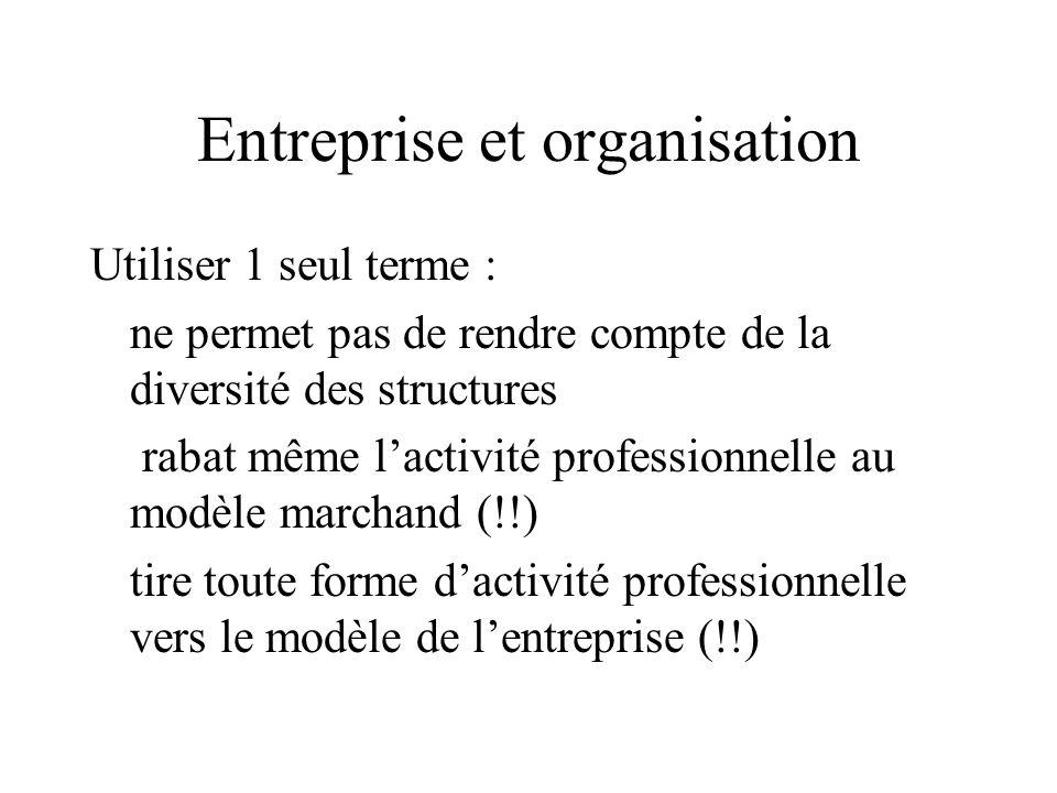 Entreprise et organisation Utiliser 1 seul terme : ne permet pas de rendre compte de la diversité des structures rabat même l'activité professionnelle au modèle marchand (!!) tire toute forme d'activité professionnelle vers le modèle de l'entreprise (!!)