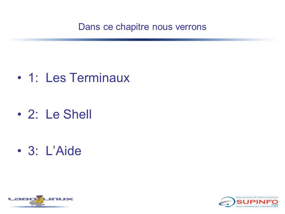 Dans ce chapitre nous verrons 1:Les Terminaux 2:Le Shell 3:L'Aide