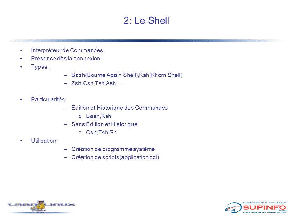 2: Le Shell Interpréteur de Commandes Présence dès la connexion Types : –Bash(Bourne Again Shell),Ksh(Khorn Shell) –Zsh,Csh,Tsh,Ash,… Particularités: –Édition et Historique des Commandes »Bash,Ksh –Sans Édition et Historique »Csh,Tsh,Sh Utilisation: –Création de programme système –Création de scripts(application cgi)