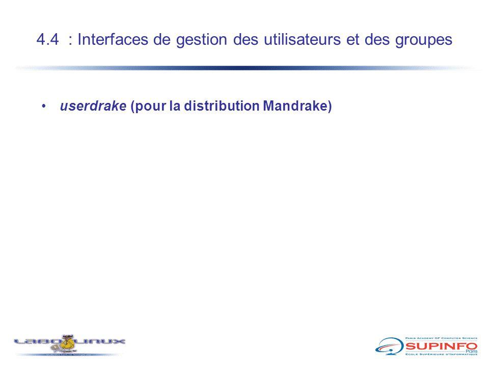 4.4 : Interfaces de gestion des utilisateurs et des groupes userdrake (pour la distribution Mandrake)