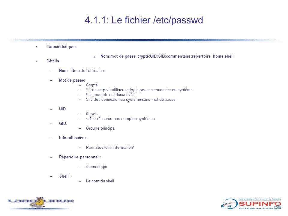4.1.2: Le fichier /etc/shadow Caractéristiques »Stocke les mot de passe cryptés du fichier /etc/passwd »Nécessite l'installation du package shadowutils installé »Lorsque la fonctionnalité est activé : le champ du mot de passe est remplacé par * ou .