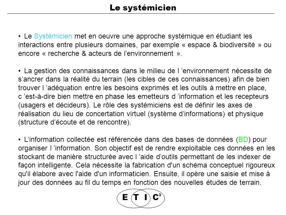 Le Systémicien met en oeuvre une approche systémique en étudiant les interactions entre plusieurs domaines, par exemple « espace & biodiversité » ou encore « recherche & acteurs de l'environnement ».