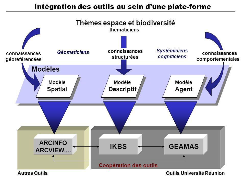 Modèle Descriptif Modèle Descriptif Modèle Agent Modèle Agent IKBSGEAMAS Modèles Autres Outils Thèmes espace et biodiversité Modèle Spatial Modèle Spatial ARCINFO ARCVIEW,...