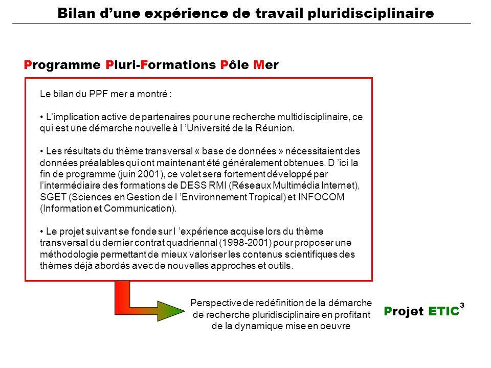 Programme Pluri-Formations Pôle Mer Le bilan du PPF mer a montré : L'implication active de partenaires pour une recherche multidisciplinaire, ce qui est une démarche nouvelle à l 'Université de la Réunion.