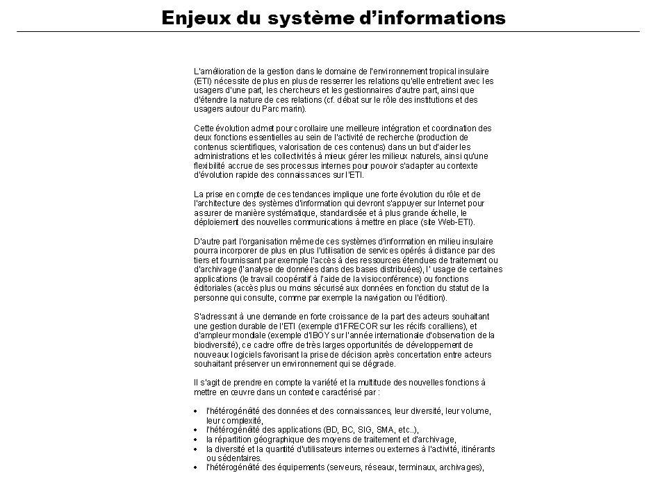Enjeux du système d'informations