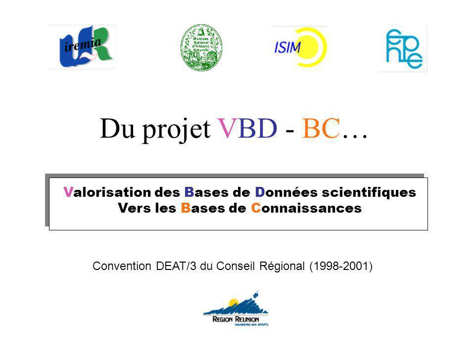 Valorisation des Bases de Données scientifiques Vers les Bases de Connaissances Du projet VBD - BC… Convention DEAT/3 du Conseil Régional (1998-2001)