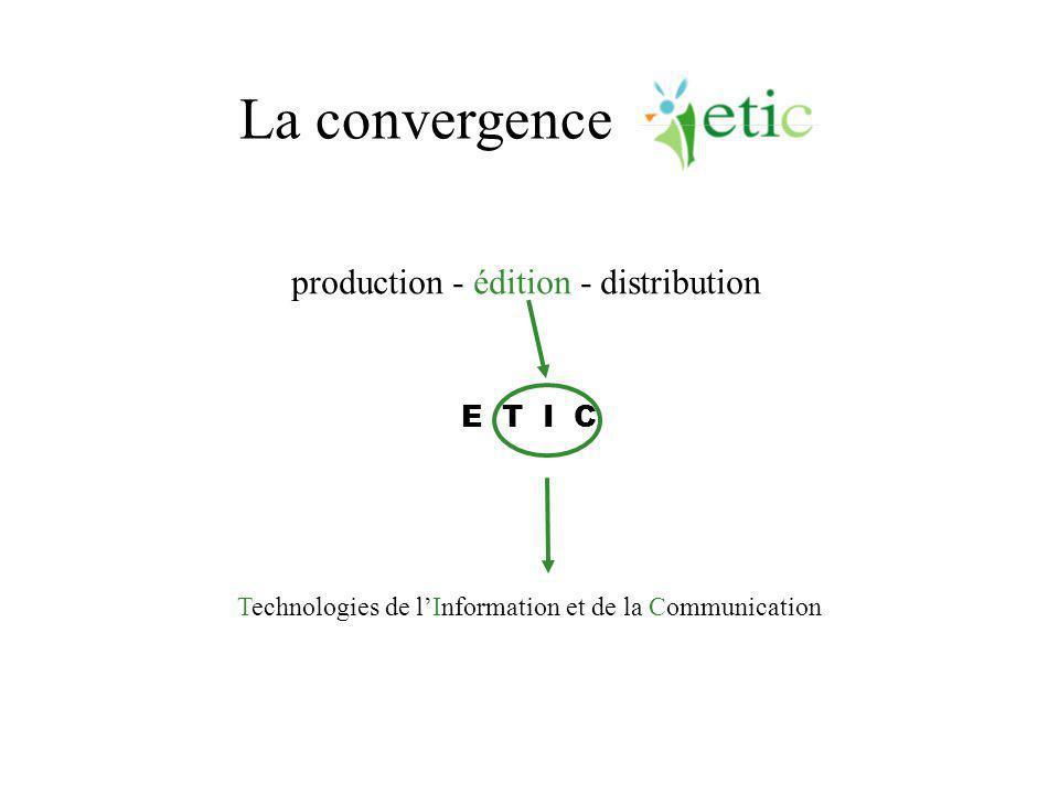 La convergence Technologies de l'Information et de la Communication E T I C production - édition - distribution