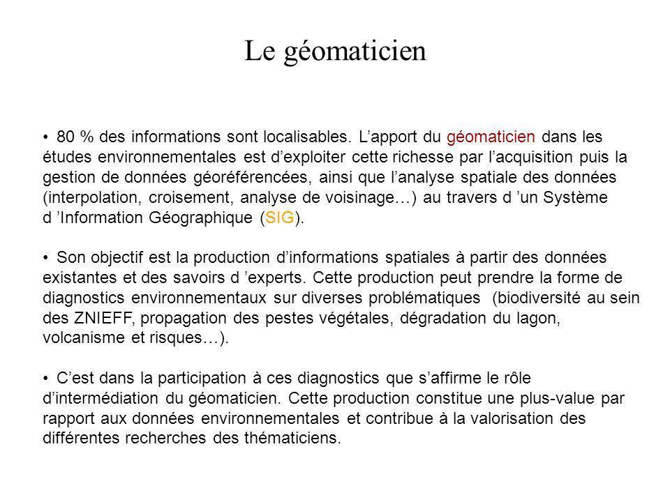 80 % des informations sont localisables. L'apport du géomaticien dans les études environnementales est d'exploiter cette richesse par l'acquisition pu