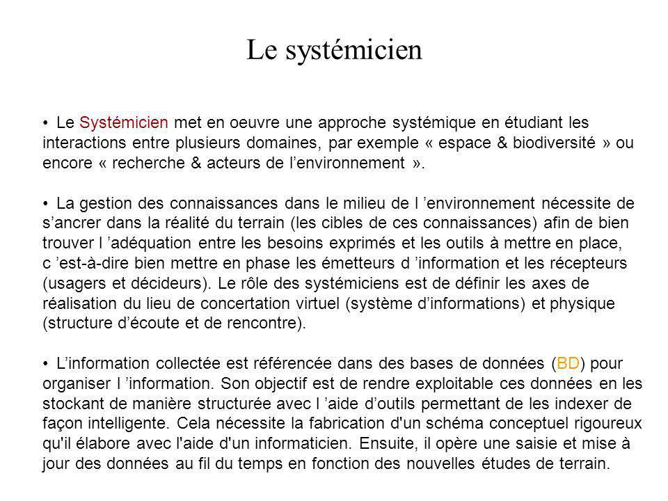Le Systémicien met en oeuvre une approche systémique en étudiant les interactions entre plusieurs domaines, par exemple « espace & biodiversité » ou e