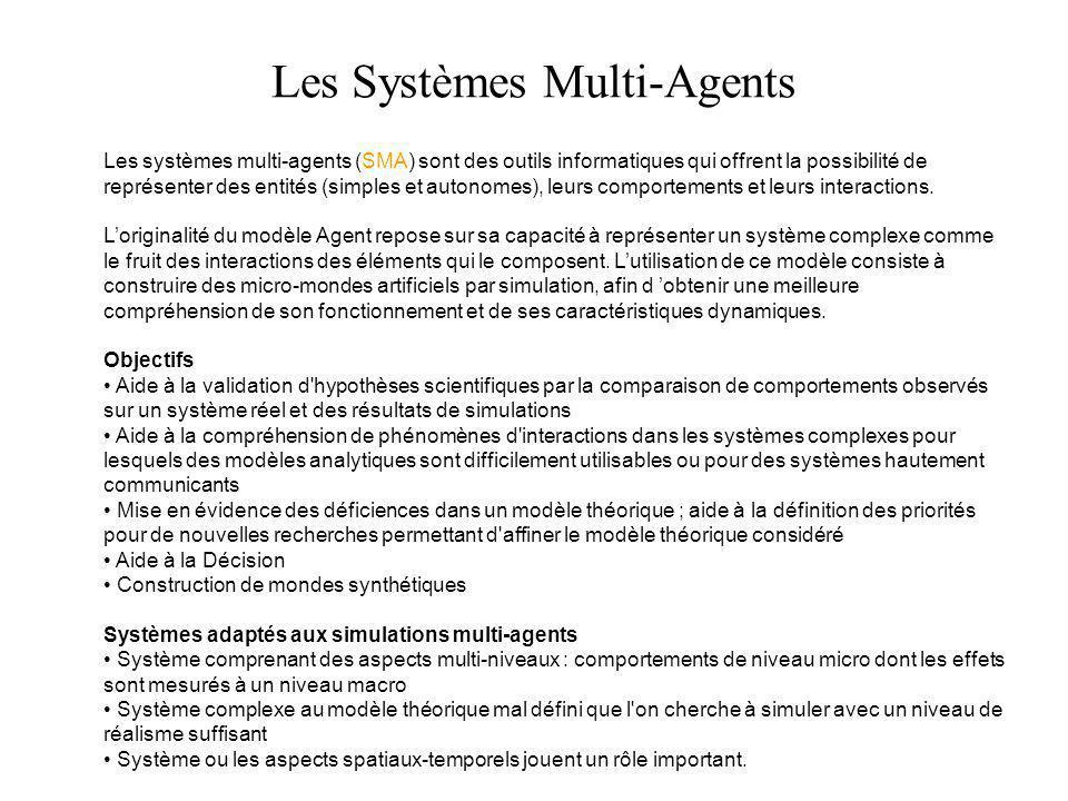 Les systèmes multi-agents (SMA) sont des outils informatiques qui offrent la possibilité de représenter des entités (simples et autonomes), leurs comp