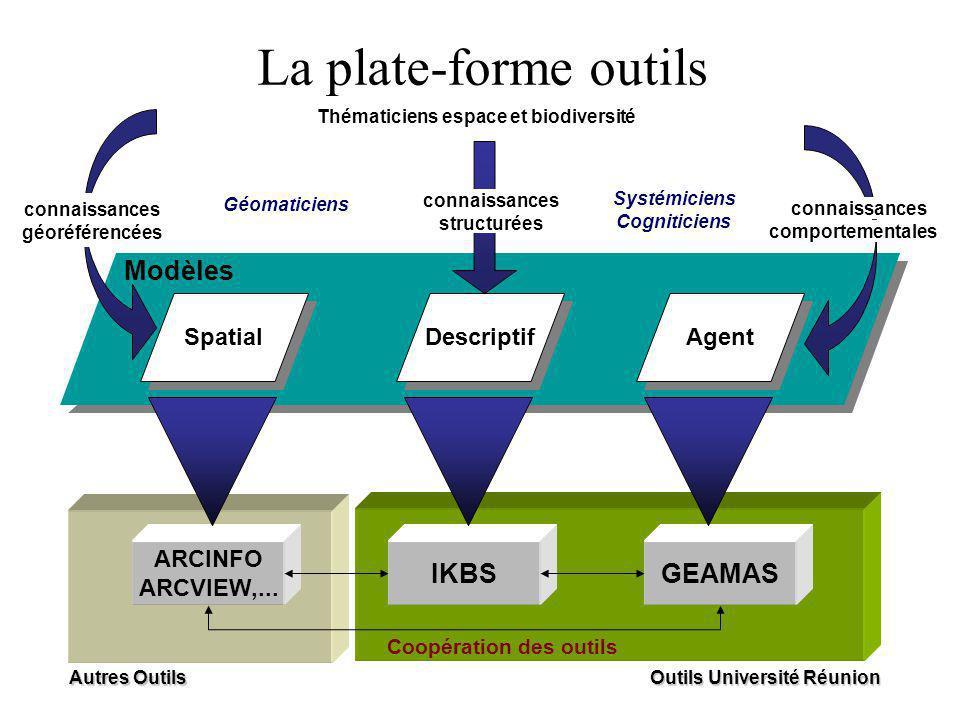Descriptif Agent IKBSGEAMAS Modèles Autres Outils Spatial ARCINFO ARCVIEW,... connaissances géoréférencées connaissances structurées comportementales