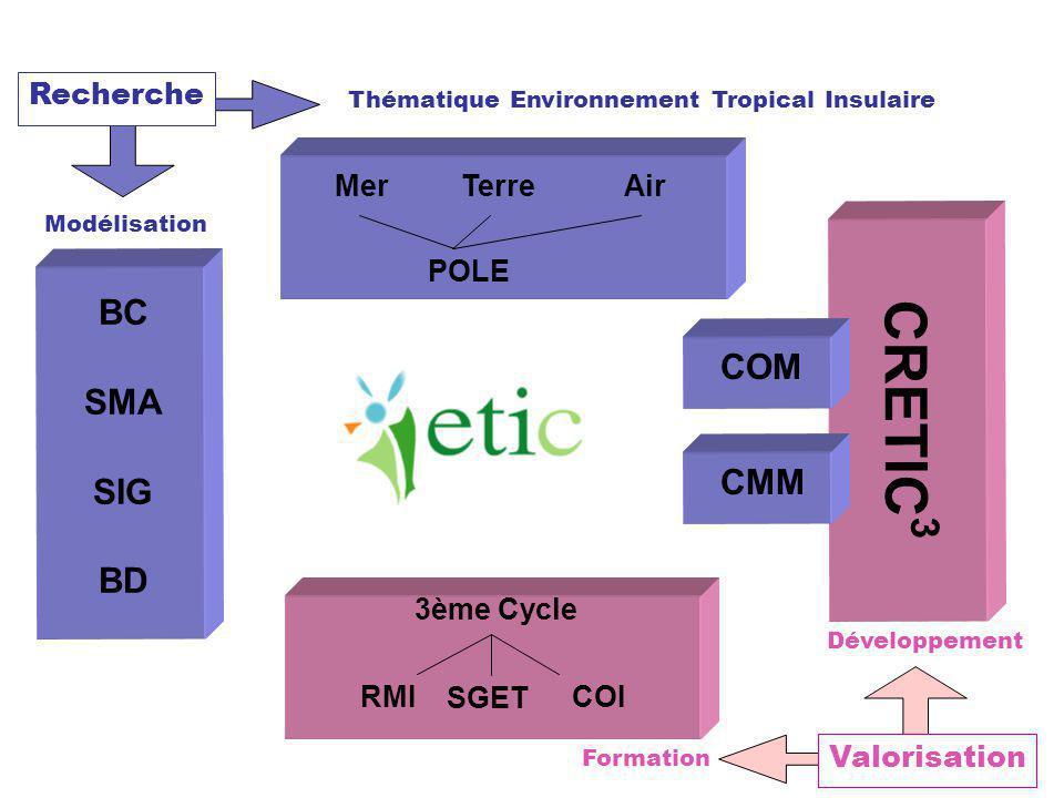 Recherche Thématique Environnement Tropical Insulaire Modélisation CRETIC 3 BC SMA SIG BD POLE MerAirTerre 3ème Cycle RMI SGET COI CMM Formation Dével