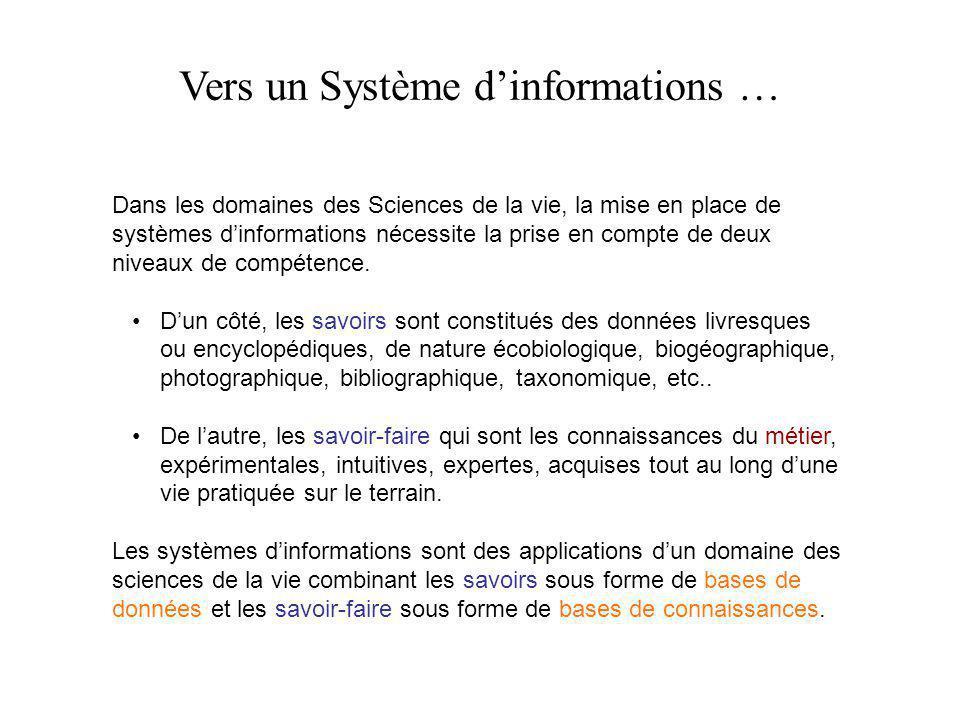 Vers un Système d'informations … Dans les domaines des Sciences de la vie, la mise en place de systèmes d'informations nécessite la prise en compte de