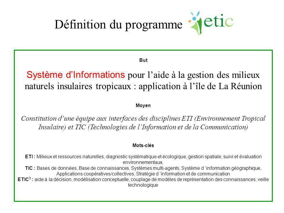 But Système d'Informations pour l'aide à la gestion des milieux naturels insulaires tropicaux : application à l'île de La Réunion Moyen Constitution d