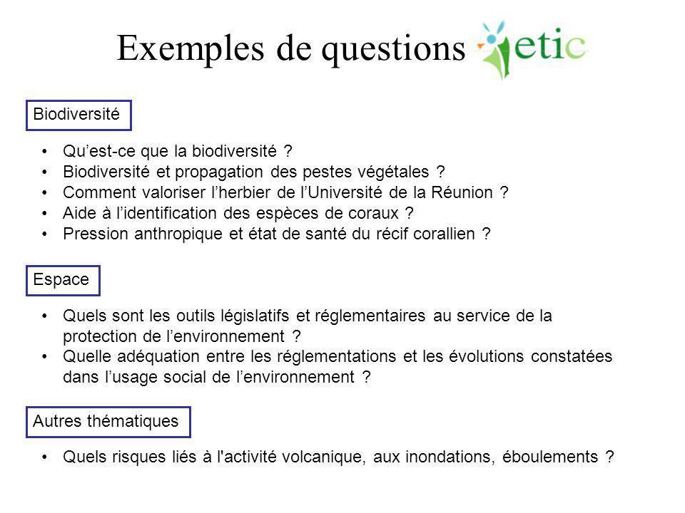 Exemples de questions Qu'est-ce que la biodiversité ? Biodiversité et propagation des pestes végétales ? Comment valoriser l'herbier de l'Université d